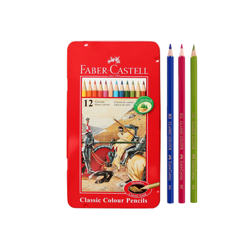 Picture of Faber Castell Classic Color Pencils (Long) - 12 pcs Set
